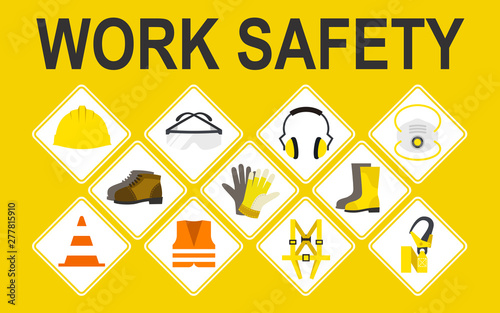 Fotografie, Obraz Work safety vector icons set, Vector illustration, Safety and accident, Industri