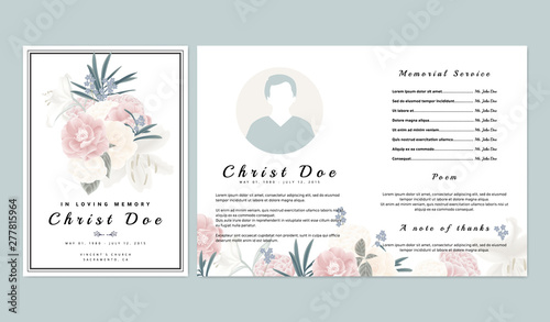 Obraz Botanical memorial and funeral invitation card template design, pink and white roses, lilies with leaves on white background - fototapety do salonu
