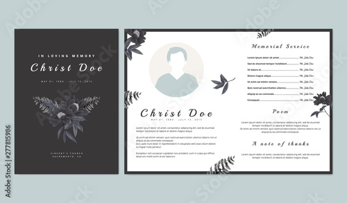 Valokuva Botanical memorial and funeral invitation card template design, black paenia lac