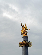 Golden Statue Of St. George On A Column In Tbilisi