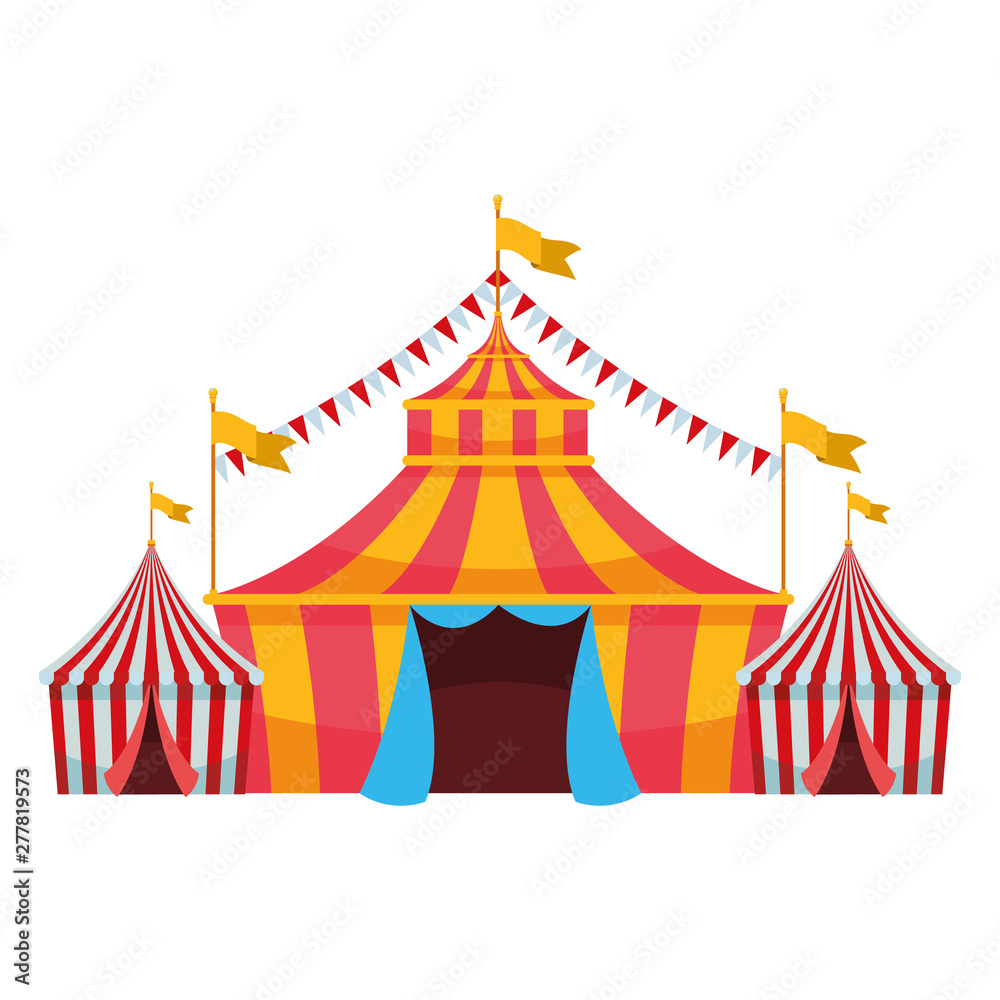 Fototapety, obrazy: big top circus with flag