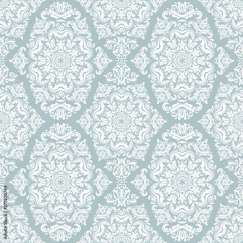 Orient classic pattern. Seamless abstract background with vintage elements. Orient light blue and white background