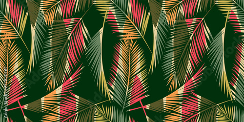 La pose en embrasure Style Boho Abstract seamless pattern with tropical leaves. Hand draw texture