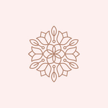 Flower Mandala Ornament Vector Icon Logo Design