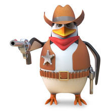 Sharpshooter Sheriff Penguin The Cartoon Cowboy Aims His Gun With Deadly Accuracy, 3d Illustration