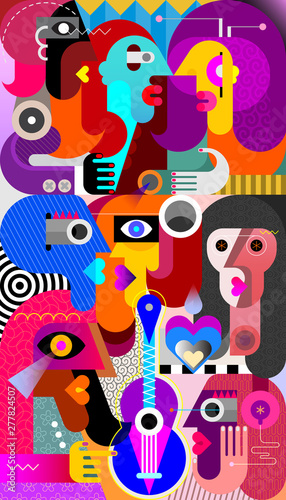 Fotoposter Abstractie Art Large Group of People vector illustration