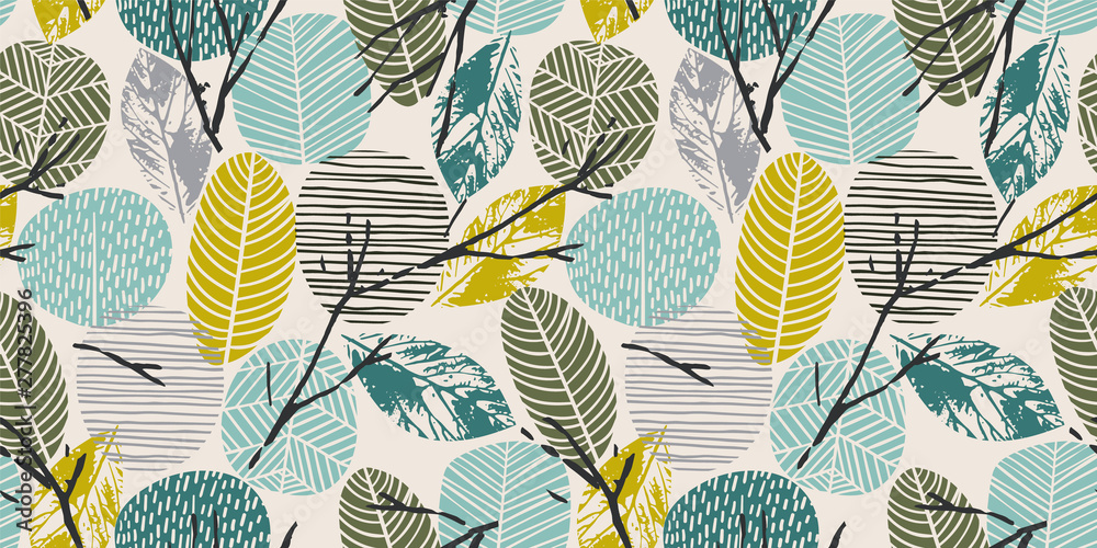 Fototapeta Abstract autumn seamless pattern with trees. Vector background for various surface.