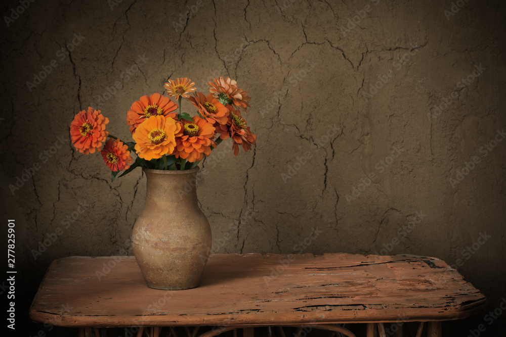 Fototapety, obrazy: flowers in jug on old wooden table
