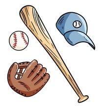 Baseball, Baseball Bat, Hat An...