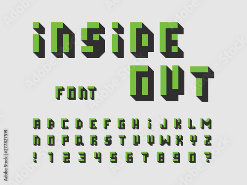 Photo  Inside out font. Vector alphabet