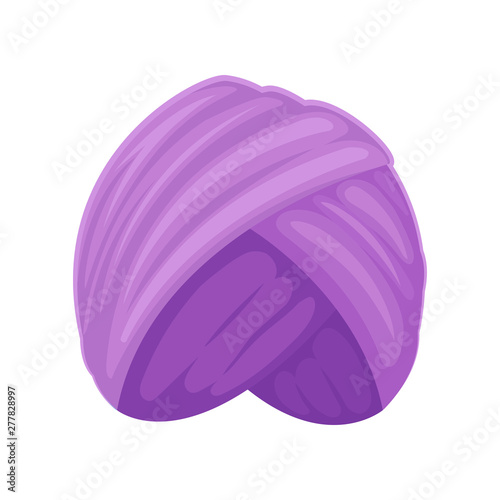 Purple turban. Vector illustration on white background. Canvas Print