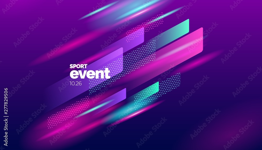Fototapety, obrazy: Layout design with dynamic shapes for event, tournament or championship. Sport background.
