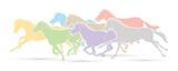 Fototapeta Fototapety na ścianę do pokoju dziecięcego - Group of horses running cartoon graphic vector.