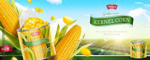 Premium kernel corn can banner Billede på lærred