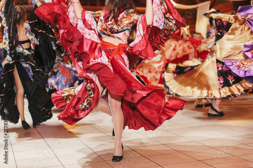 Gypsy dance festival, Woman performing romany dance and folk songs in national clothing Wallpaper Mural