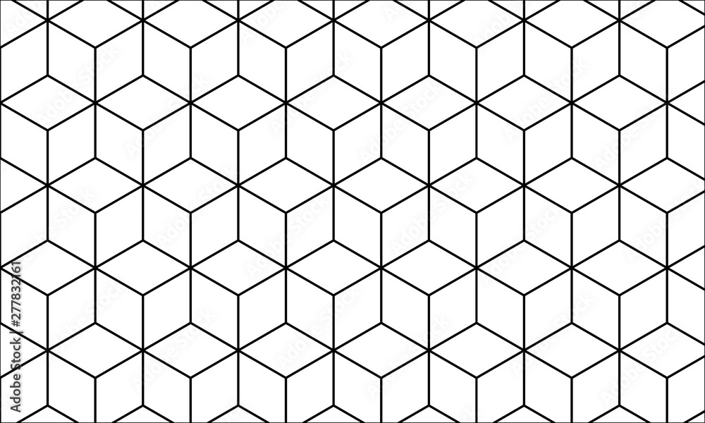 Lineart Geometric Seamless Pattern for Background & Wallpaper, Abstract isometric grid illustration