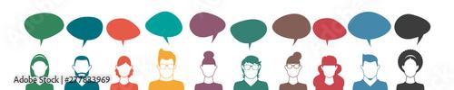 Fotomural  Personen mit Sprechblasen - Kommunikation Konzept