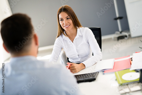 Deurstickers Snelle auto s Picture of job interview in modern office