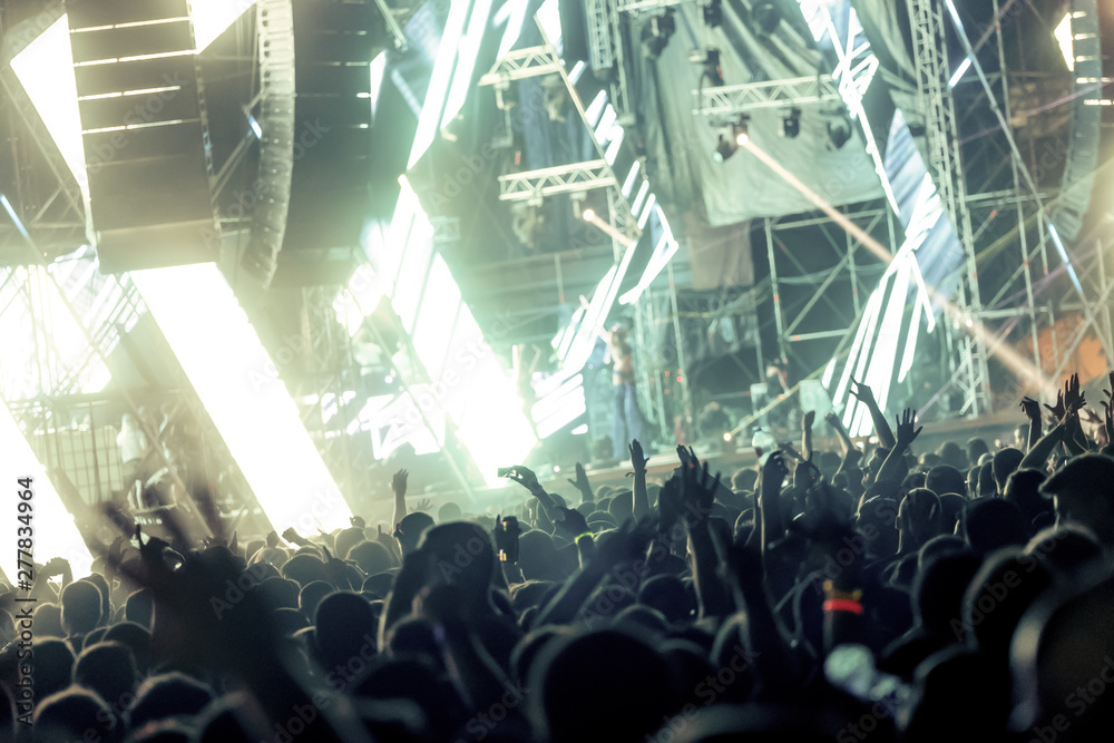 Fototapety, obrazy: Picture of dancing crowd at music festival