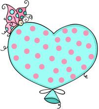 Lovely Butterfly On Blue Heart Balloon