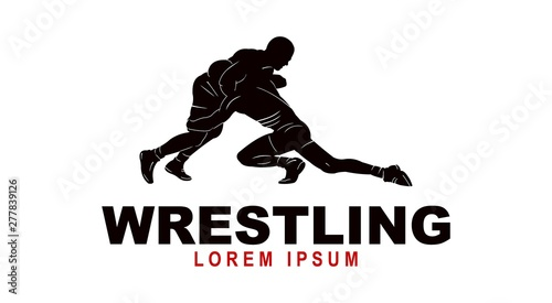 Photo  Wrestling logo template, Wrestling Sport Silhouette logo template
