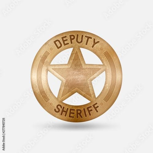 Fototapeta Vintage bronze badge. Deputy sheriff star