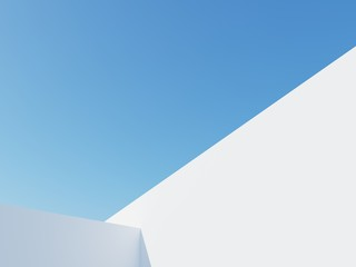 Architectural construction against the blue sky. 3d render illustration with copy space. Simple, stylish, popular architectural illustration for advertising, business, presentations, wallpapers.