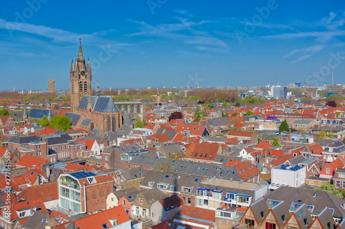 Wall Murals Bridges Aerial panoramic downtown street view with houses in Delft, Holland