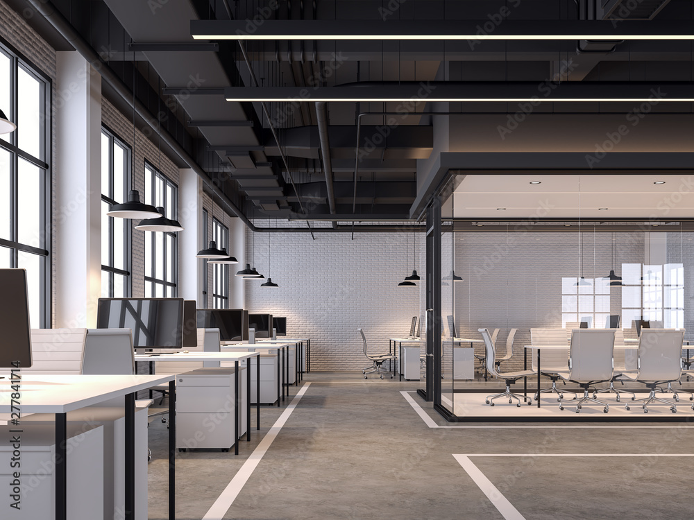 Fototapety, obrazy: Modern loft style office 3d render.There are white brick walls, polished concrete floors and black ceilings with piping systems. decorated with white furniture,