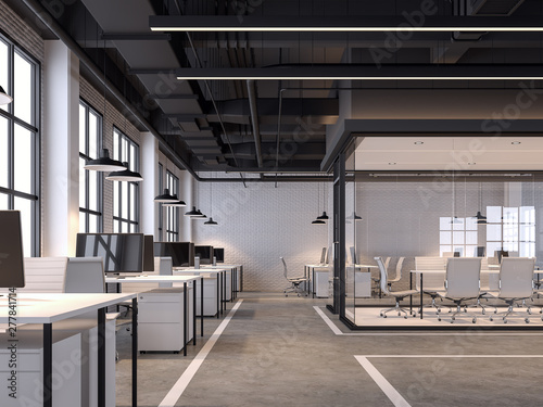 fototapeta na drzwi i meble Modern loft style office 3d render.There are white brick walls, polished concrete floors and black ceilings with piping systems. decorated with white furniture,