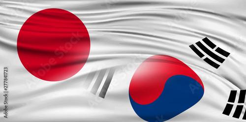 Fotomural 日本 韓国  国旗 背景
