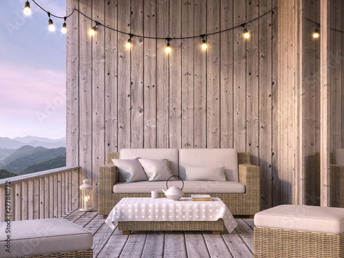 Fototapeta Wooden balcony with mountain view 3d render, The floor and walls are old wood, decorated with fabric and rattan furniture