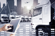 Technology Transportation By People Is Using Tablet To Control Trucking Transportation Mode For Logistics.