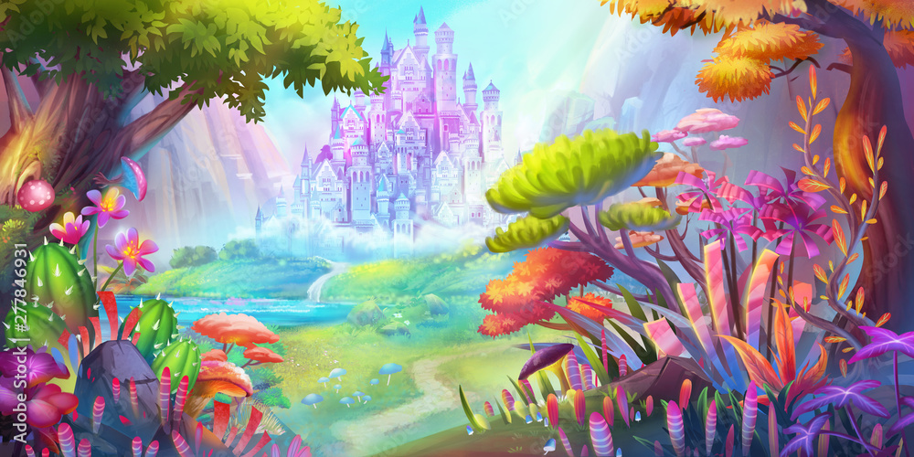 Fototapeta The Forest and Castle. Mountain and River. Fiction Backdrop. Concept Art. Realistic Illustration. Video Game Digital CG Artwork. Nature Scenery.