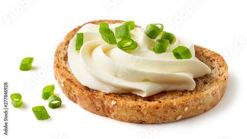 Fotografering toasted bread with cream cheese