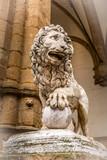 Florence, Italy lion statue at the Loggia dei Lanzi in Palazzo Vecchio. Lion Medici, Firenze landmarks