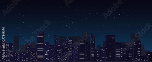 night city skyline background, megapolis, silhouette, illustration with architec Canvas-taulu