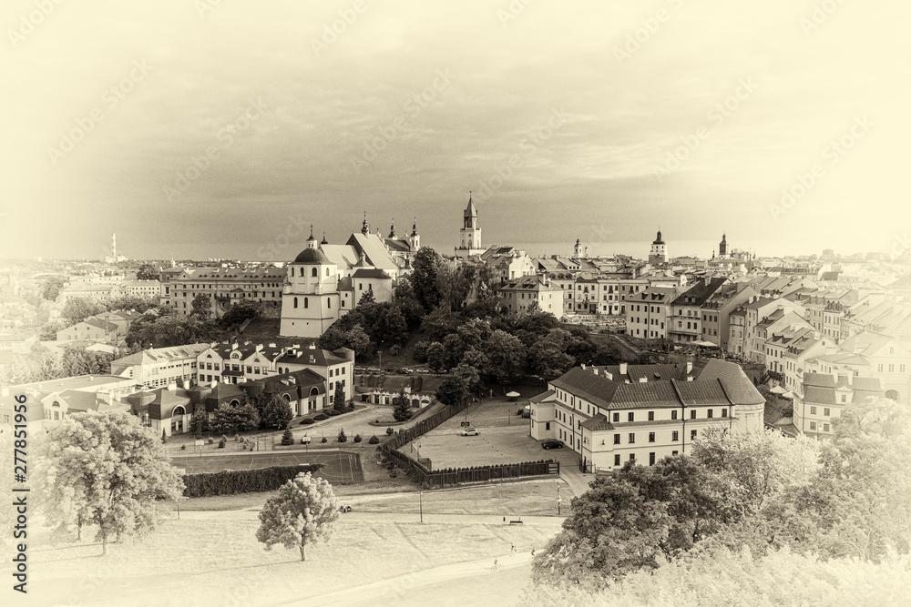 Fototapety, obrazy: panorama Lublina w wersji retro