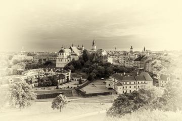 Panel Szklany Miasta panorama Lublina w wersji retro