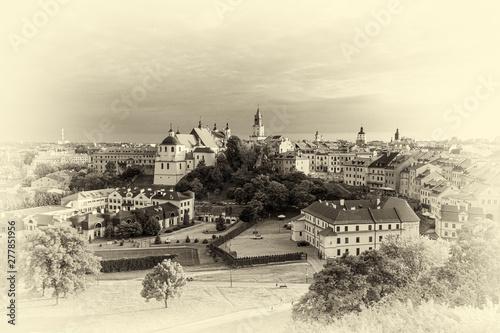 Obraz panorama Lublina w wersji retro - fototapety do salonu