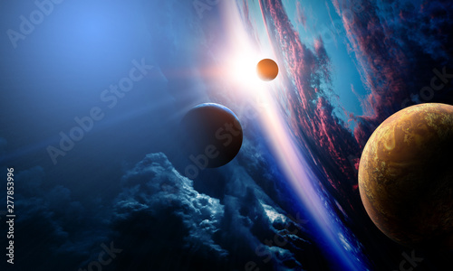 Photo Abstract planets and space background
