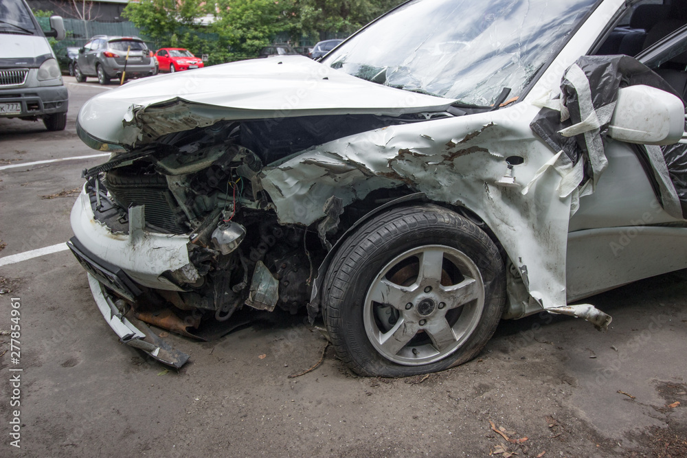 Fototapety, obrazy: a completely wrecked car after a serious accident,.ruined car