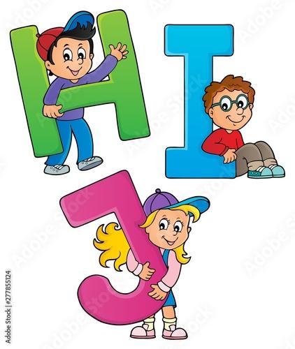 Fotoposter Voor kinderen Children with letters HIJ