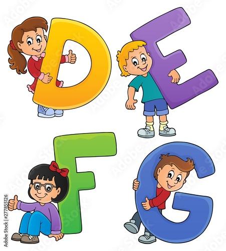 Foto op Plexiglas Voor kinderen Children with letters DEFG