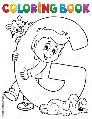 Deurstickers Voor kinderen Coloring book boy and pets by letter G