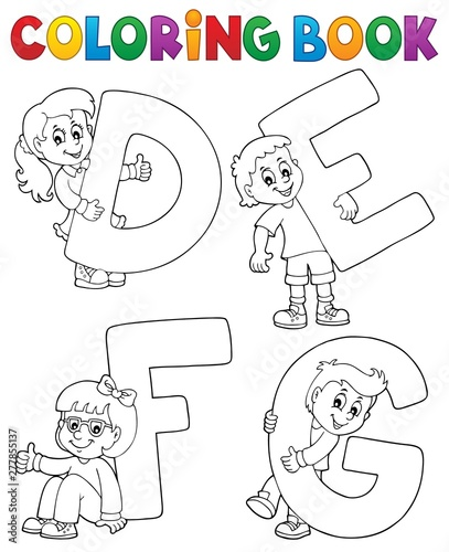 Deurstickers Voor kinderen Coloring book children with letters DEFG