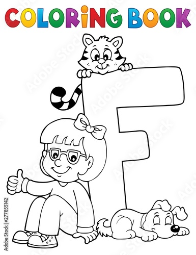 Fotobehang Voor kinderen Coloring book girl and pets by letter F