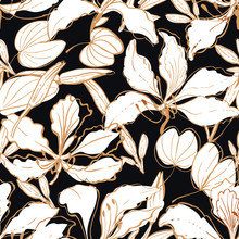 Bold  Drawing  Exotic Floral Pattern Hawaii Style With Orchid Tree Flowers - Bauhinia, Buds And Leaves, Partially Colored.