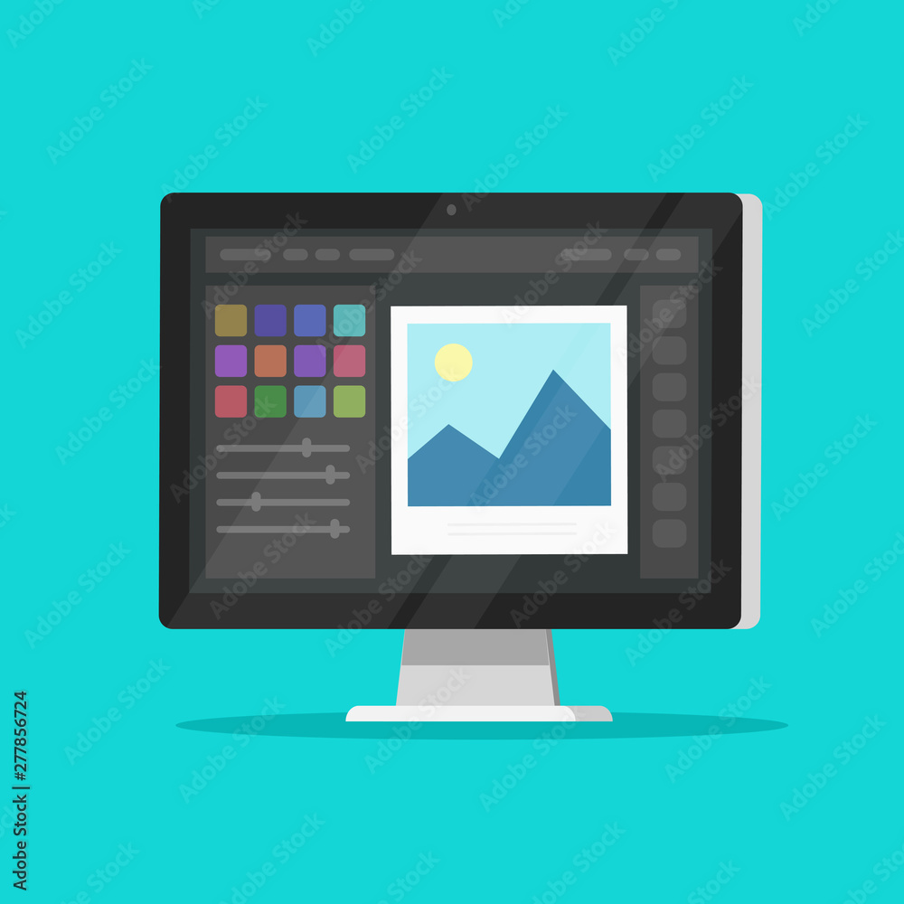 Fototapeta Photo or graphic editor on desktop computer monitor vector icon, flat cartoon pc screen with design or image editing software or program symbol isolated image