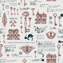 Vector Seamless Pattern With Vintage Hand-drawn Keys, Keyholes And Old Houses In Retro Style. Abstract Background With Sketches, Notes, Spots And Blots. Wallpaper, Wrapping Paper, Textile